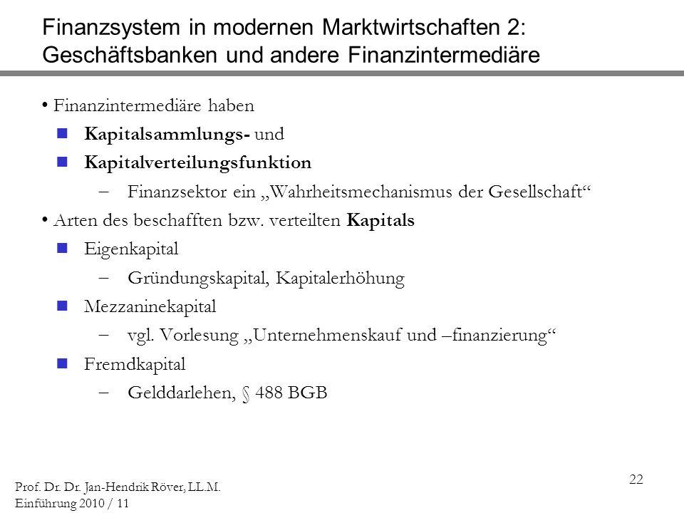 22 Prof. Dr. Dr. Jan-Hendrik Röver, LL.M. Einführung 2010 / 11 Finanzsystem in modernen Marktwirtschaften 2: Geschäftsbanken und andere Finanzintermed