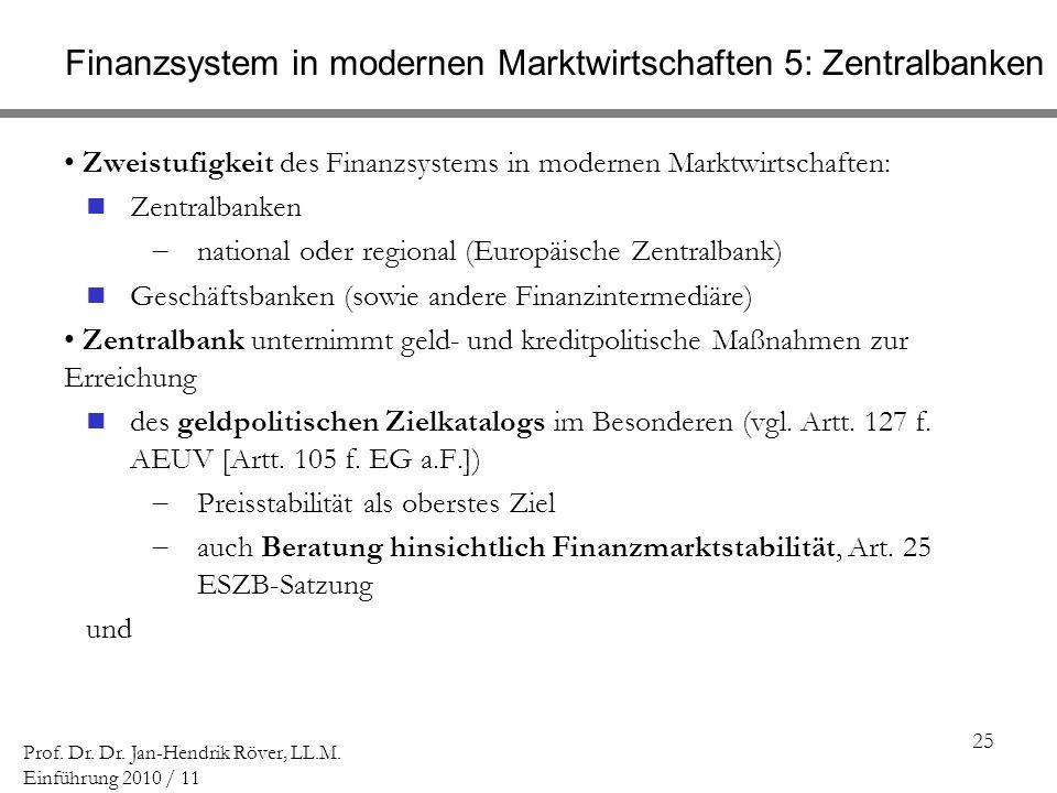 25 Prof. Dr. Dr. Jan-Hendrik Röver, LL.M. Einführung 2010 / 11 Finanzsystem in modernen Marktwirtschaften 5: Zentralbanken Zweistufigkeit des Finanzsy
