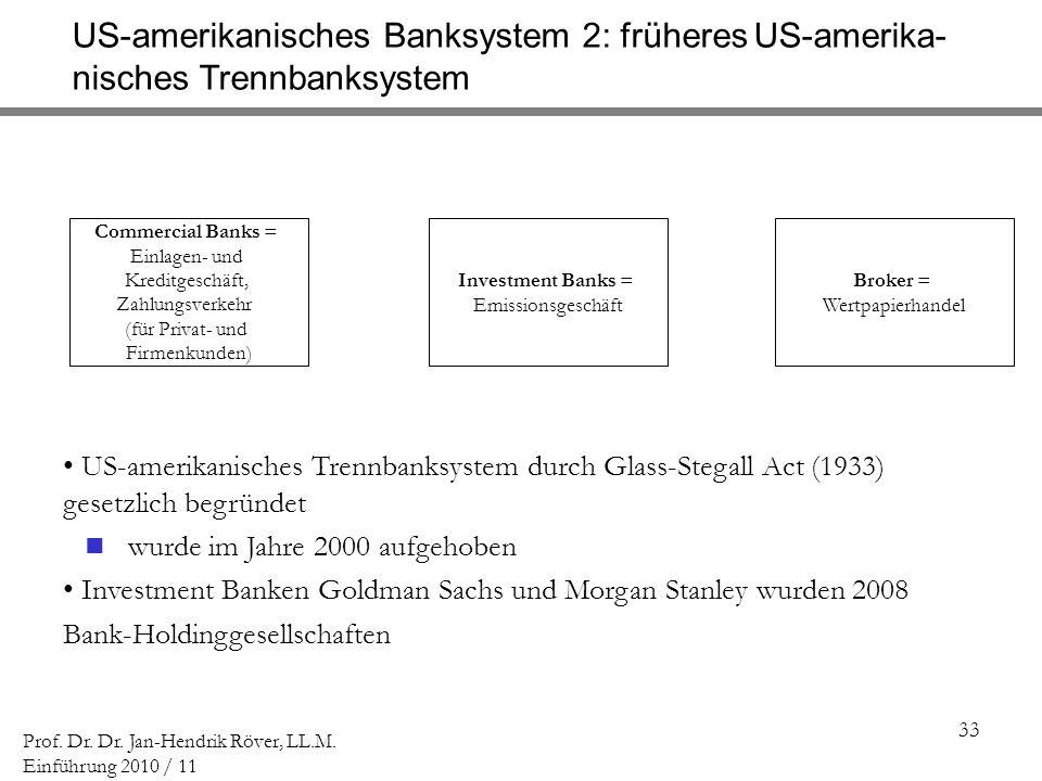 33 Prof. Dr. Dr. Jan-Hendrik Röver, LL.M. Einführung 2010 / 11 US-amerikanisches Banksystem 2: früheres US-amerika- nisches Trennbanksystem Commercial