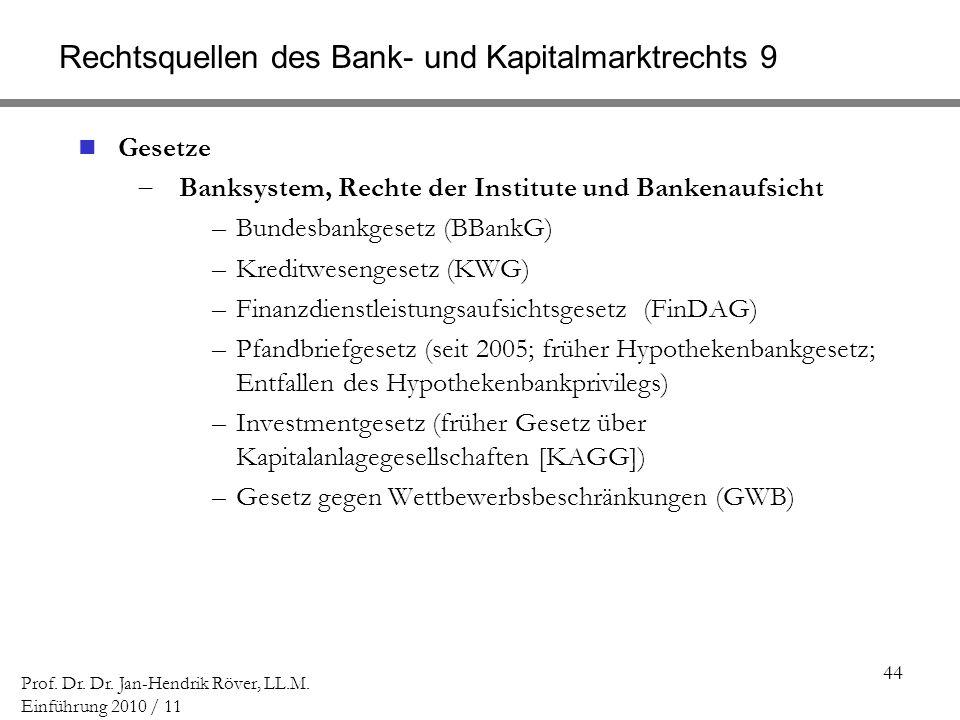 44 Prof. Dr. Dr. Jan-Hendrik Röver, LL.M. Einführung 2010 / 11 Rechtsquellen des Bank- und Kapitalmarktrechts 9 Gesetze Banksystem, Rechte der Institu