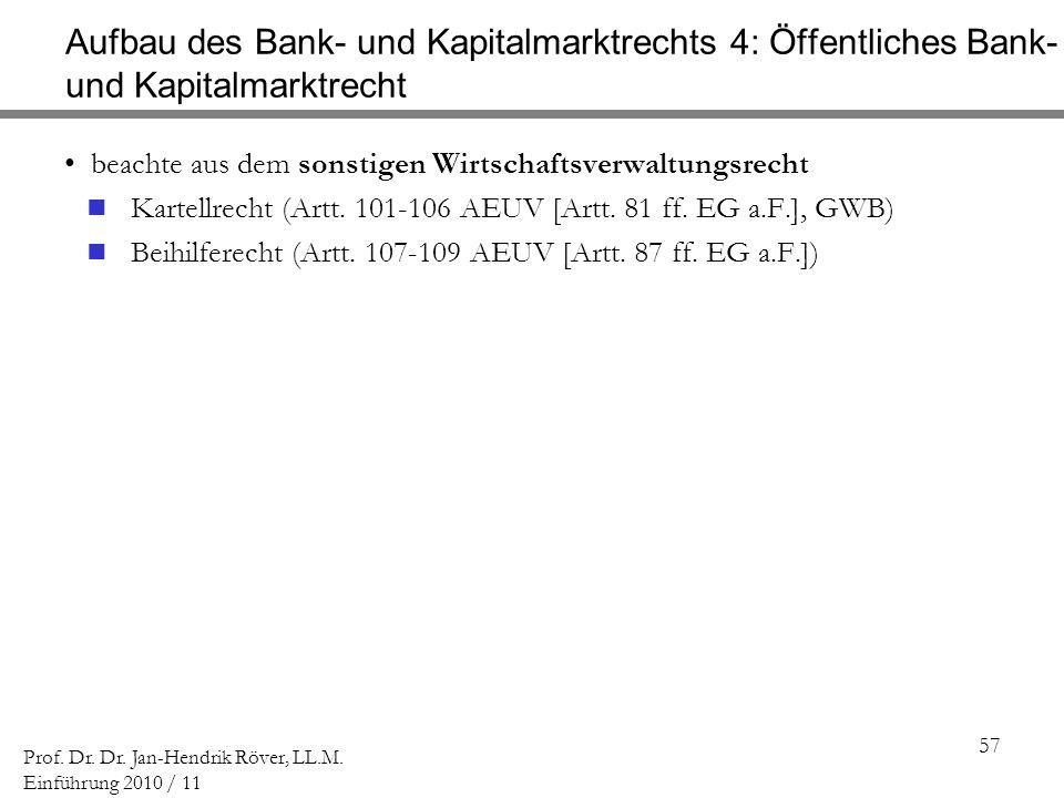 57 Prof. Dr. Dr. Jan-Hendrik Röver, LL.M. Einführung 2010 / 11 Aufbau des Bank- und Kapitalmarktrechts 4: Öffentliches Bank- und Kapitalmarktrecht bea