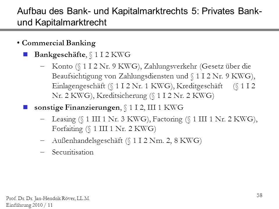 58 Prof. Dr. Dr. Jan-Hendrik Röver, LL.M. Einführung 2010 / 11 Aufbau des Bank- und Kapitalmarktrechts 5: Privates Bank- und Kapitalmarktrecht Commerc
