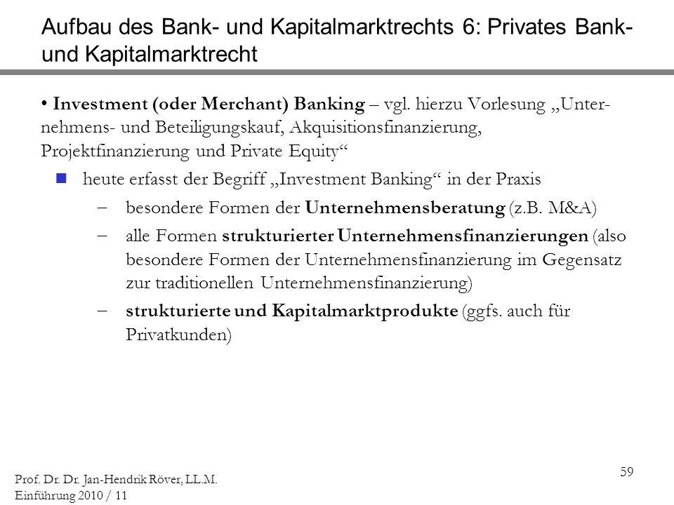 59 Prof. Dr. Dr. Jan-Hendrik Röver, LL.M. Einführung 2010 / 11 Aufbau des Bank- und Kapitalmarktrechts 6: Privates Bank- und Kapitalmarktrecht Investm