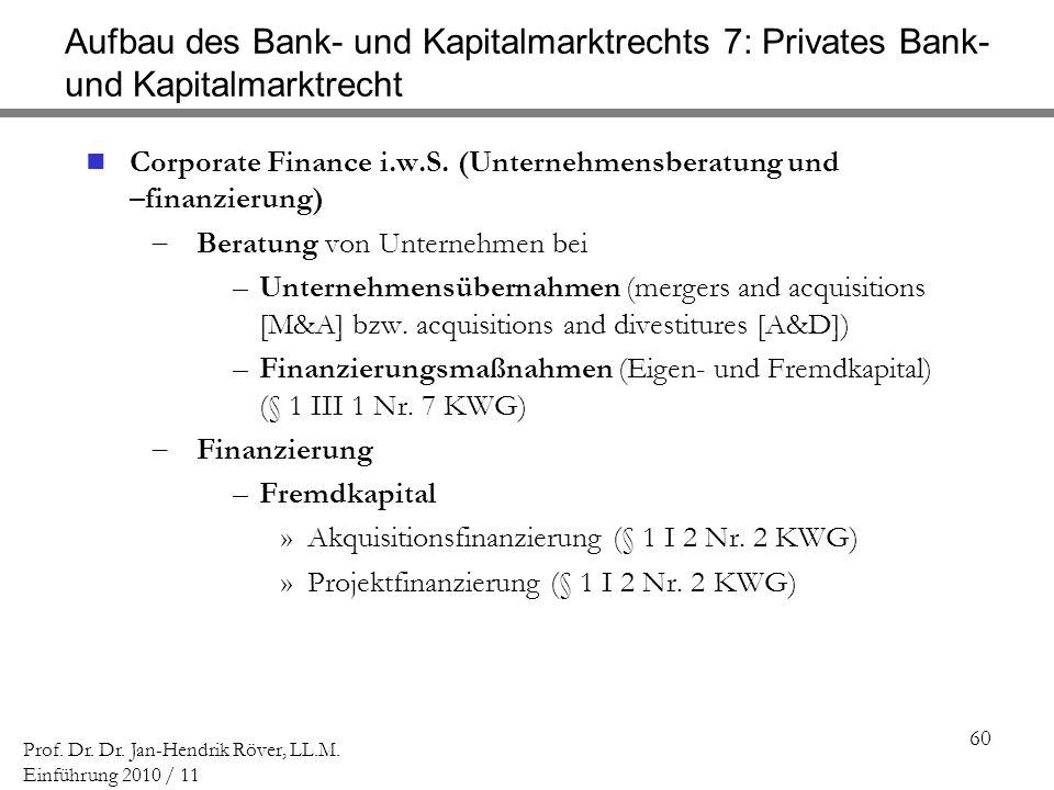 60 Prof. Dr. Dr. Jan-Hendrik Röver, LL.M. Einführung 2010 / 11 Aufbau des Bank- und Kapitalmarktrechts 7: Privates Bank- und Kapitalmarktrecht Corpora