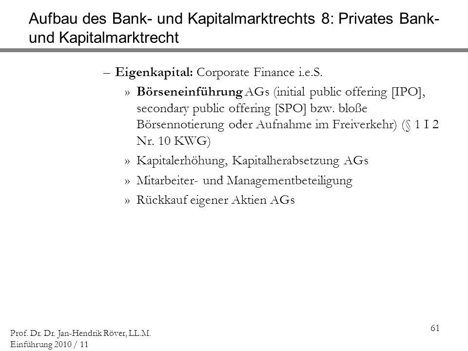 61 Prof. Dr. Dr. Jan-Hendrik Röver, LL.M. Einführung 2010 / 11 Aufbau des Bank- und Kapitalmarktrechts 8: Privates Bank- und Kapitalmarktrecht –Eigenk