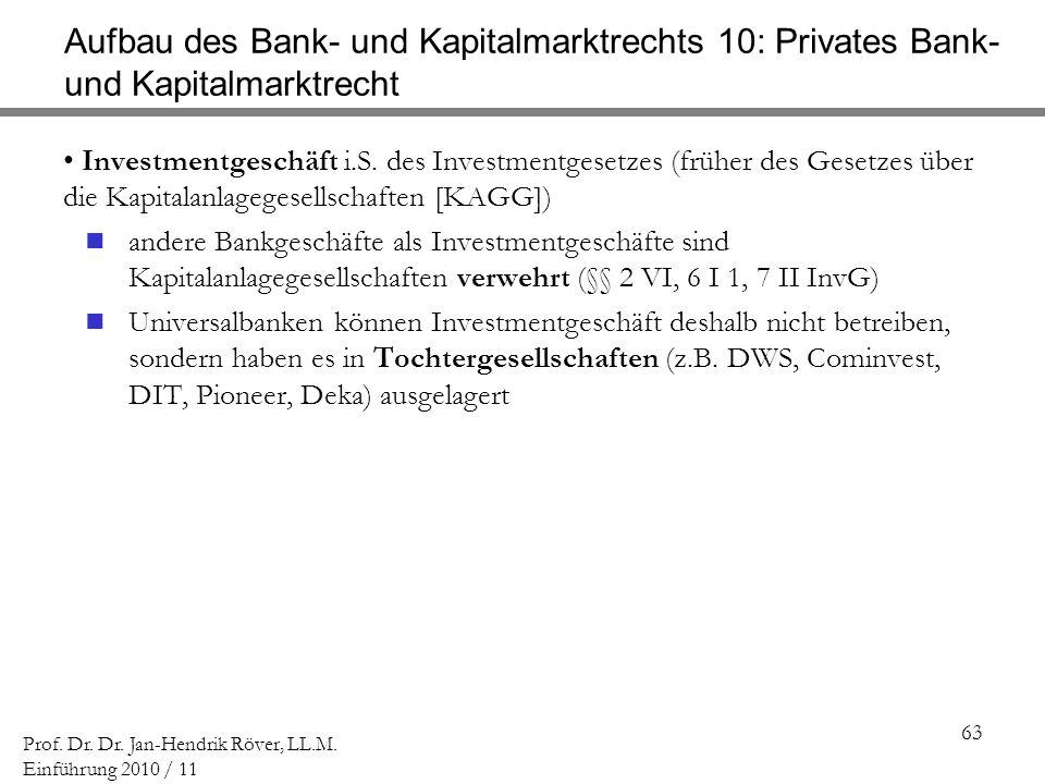 63 Prof. Dr. Dr. Jan-Hendrik Röver, LL.M. Einführung 2010 / 11 Aufbau des Bank- und Kapitalmarktrechts 10: Privates Bank- und Kapitalmarktrecht Invest