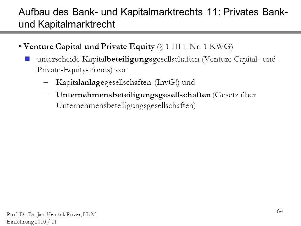 64 Prof. Dr. Dr. Jan-Hendrik Röver, LL.M. Einführung 2010 / 11 Aufbau des Bank- und Kapitalmarktrechts 11: Privates Bank- und Kapitalmarktrecht Ventur