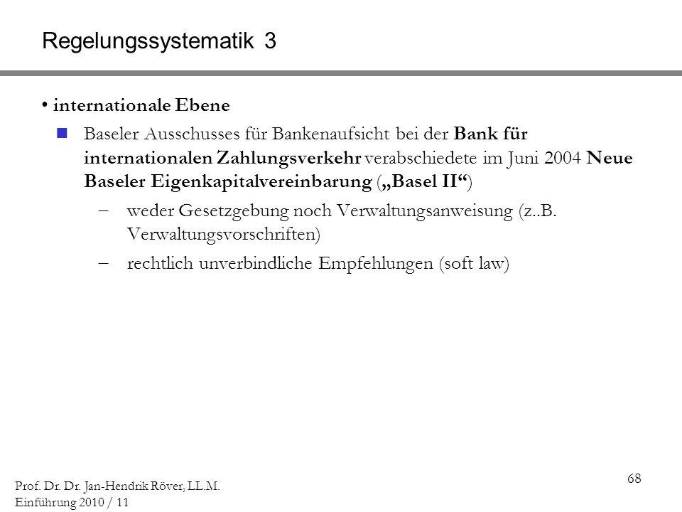 68 Prof. Dr. Dr. Jan-Hendrik Röver, LL.M. Einführung 2010 / 11 Regelungssystematik 3 internationale Ebene Baseler Ausschusses für Bankenaufsicht bei d