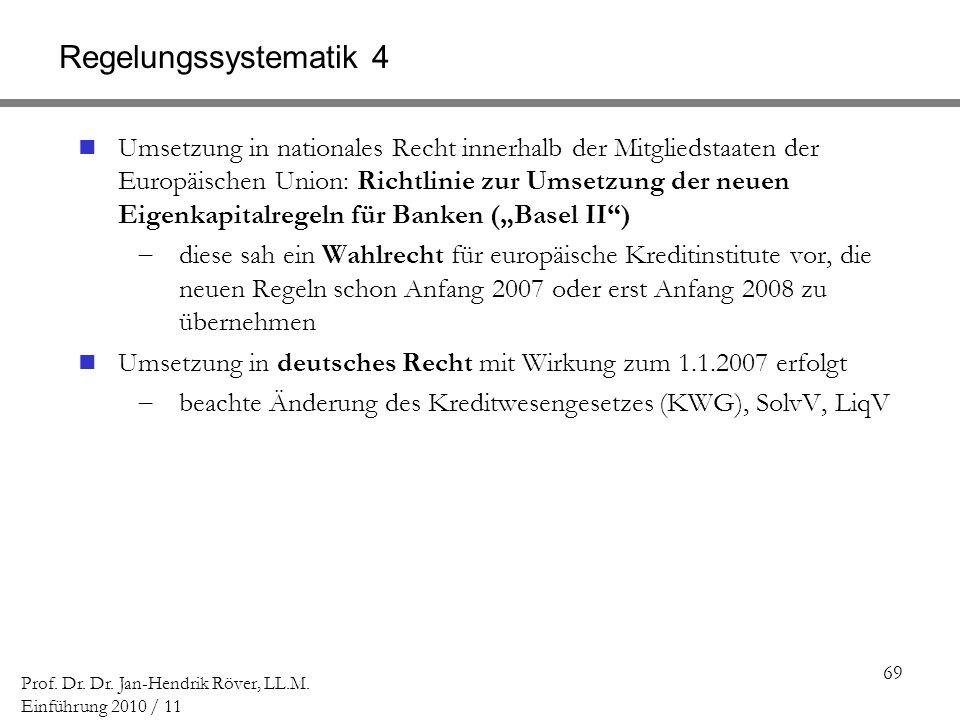 69 Prof. Dr. Dr. Jan-Hendrik Röver, LL.M. Einführung 2010 / 11 Regelungssystematik 4 Umsetzung in nationales Recht innerhalb der Mitgliedstaaten der E