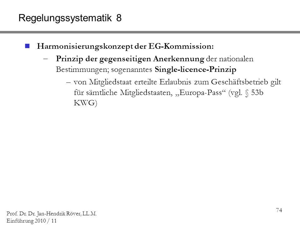 74 Prof. Dr. Dr. Jan-Hendrik Röver, LL.M. Einführung 2010 / 11 Regelungssystematik 8 Harmonisierungskonzept der EG-Kommission: Prinzip der gegenseitig