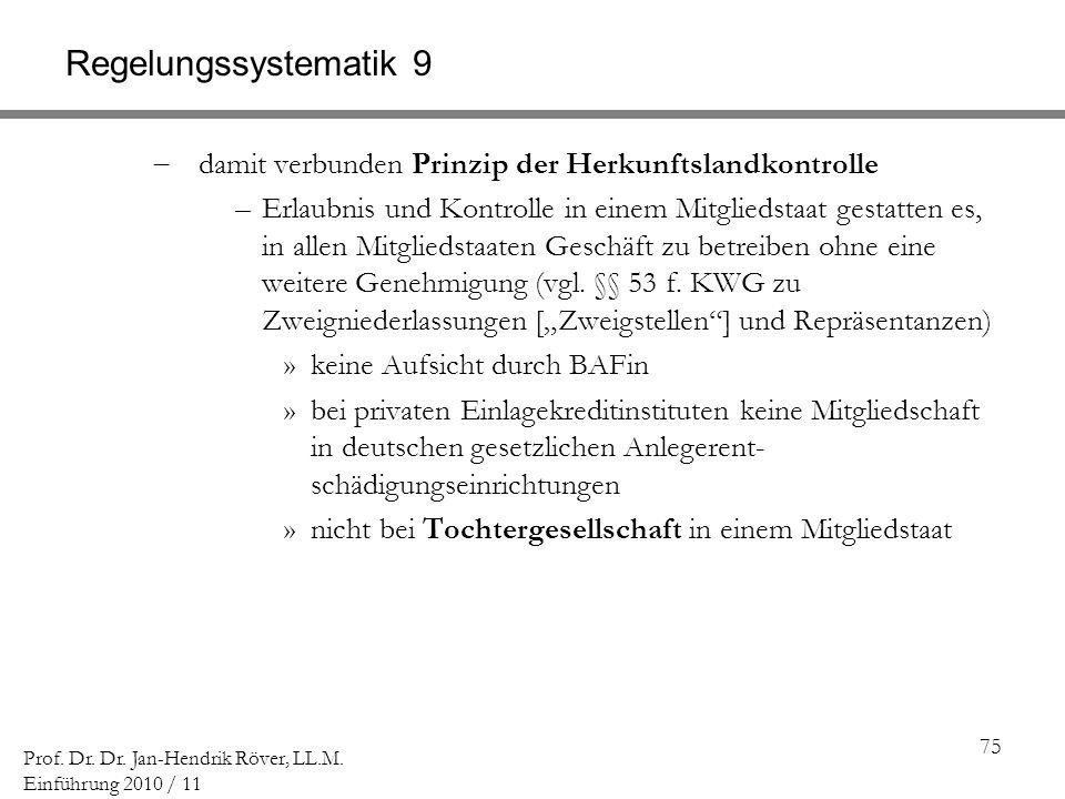 75 Prof. Dr. Dr. Jan-Hendrik Röver, LL.M. Einführung 2010 / 11 Regelungssystematik 9 damit verbunden Prinzip der Herkunftslandkontrolle –Erlaubnis und