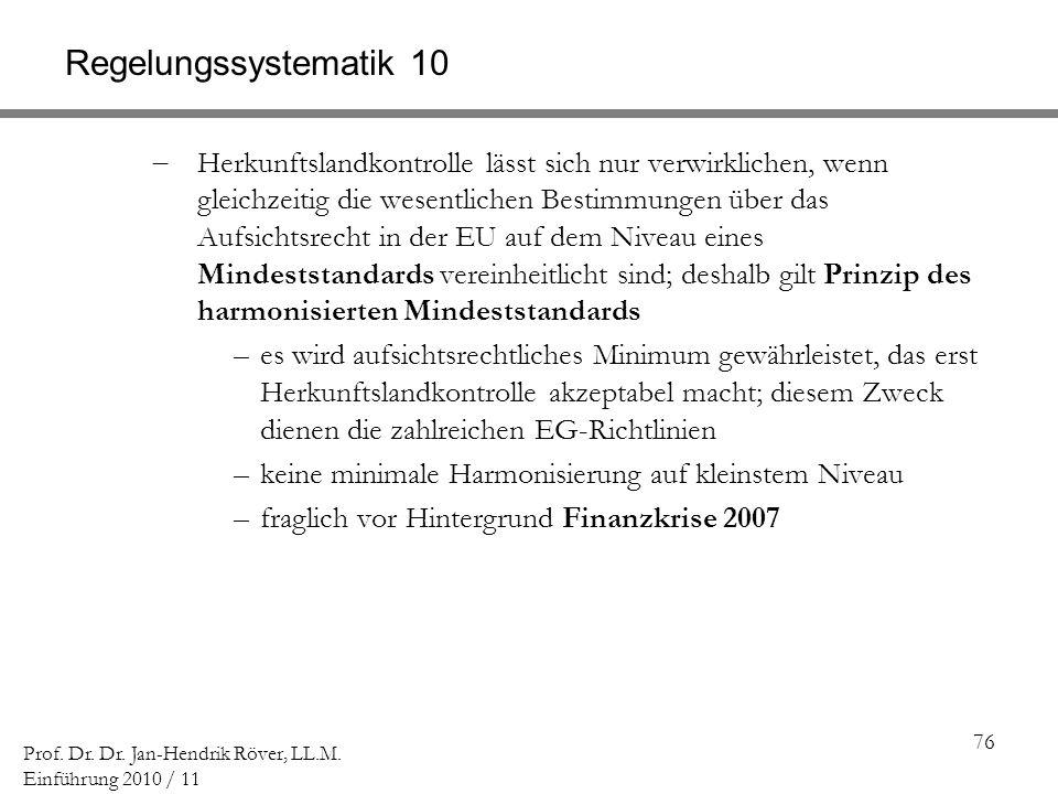 76 Prof. Dr. Dr. Jan-Hendrik Röver, LL.M. Einführung 2010 / 11 Regelungssystematik 10 Herkunftslandkontrolle lässt sich nur verwirklichen, wenn gleich