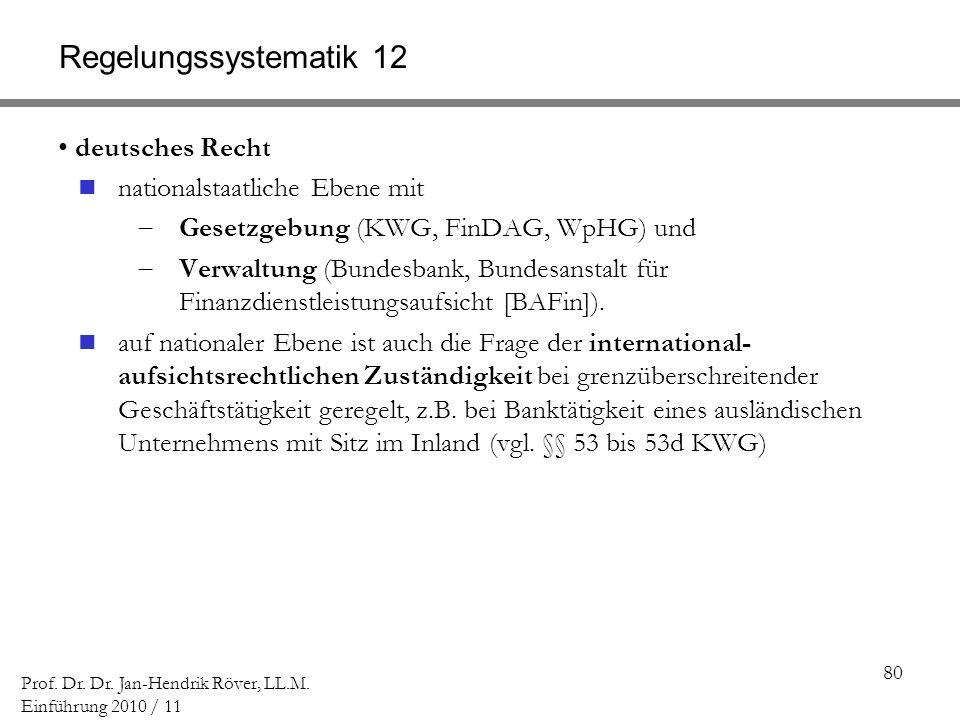 80 Prof. Dr. Dr. Jan-Hendrik Röver, LL.M. Einführung 2010 / 11 Regelungssystematik 12 deutsches Recht nationalstaatliche Ebene mit Gesetzgebung (KWG,