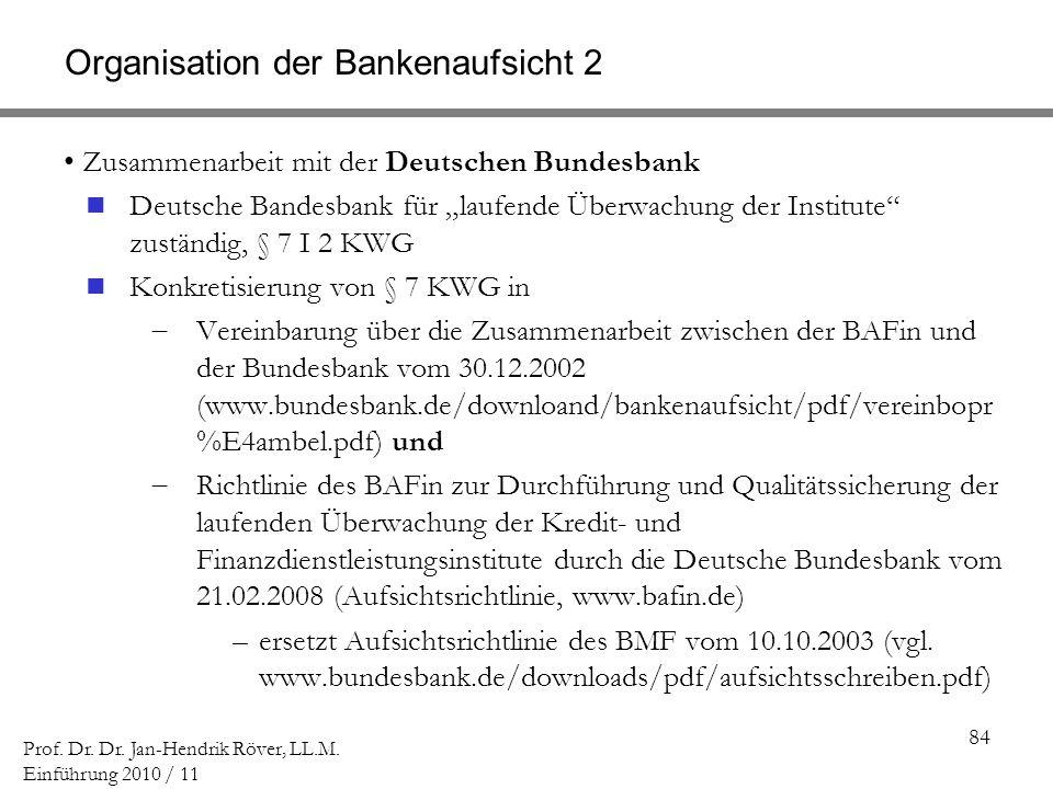 84 Prof. Dr. Dr. Jan-Hendrik Röver, LL.M. Einführung 2010 / 11 Organisation der Bankenaufsicht 2 Zusammenarbeit mit der Deutschen Bundesbank Deutsche
