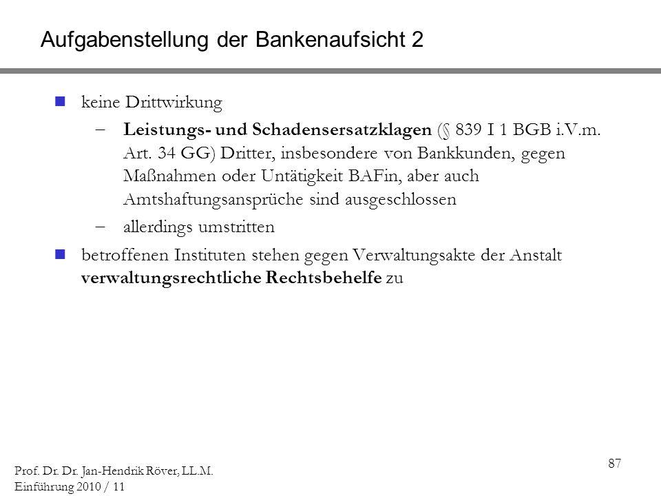 87 Prof. Dr. Dr. Jan-Hendrik Röver, LL.M. Einführung 2010 / 11 Aufgabenstellung der Bankenaufsicht 2 keine Drittwirkung Leistungs- und Schadensersatzk