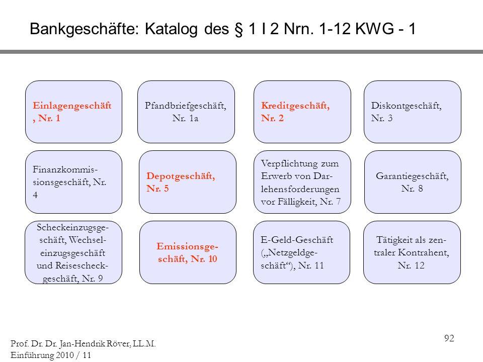 92 Prof. Dr. Dr. Jan-Hendrik Röver, LL.M. Einführung 2010 / 11 Bankgeschäfte: Katalog des § 1 I 2 Nrn. 1-12 KWG - 1 Scheckeinzugsge- schäft, Wechsel-