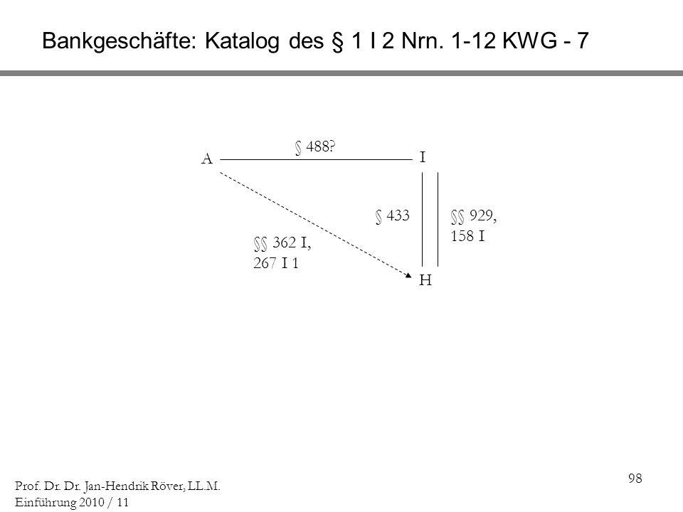 98 Prof. Dr. Dr. Jan-Hendrik Röver, LL.M. Einführung 2010 / 11 Bankgeschäfte: Katalog des § 1 I 2 Nrn. 1-12 KWG - 7 A I H § 433§§ 929, 158 I §§ 362 I,
