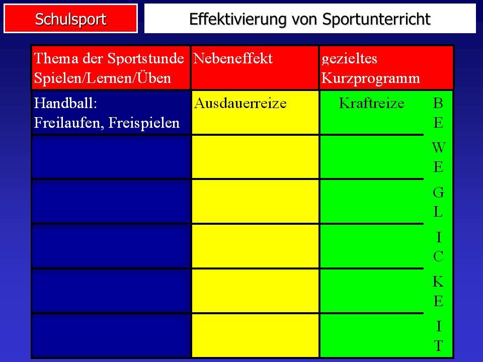 Schulsport Effektivierung von Sportunterricht
