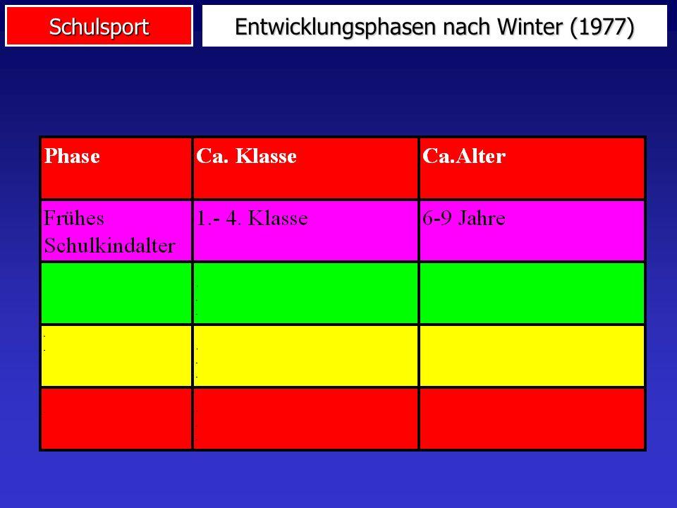 Schulsport Entwicklungsphasen nach Winter (1977)