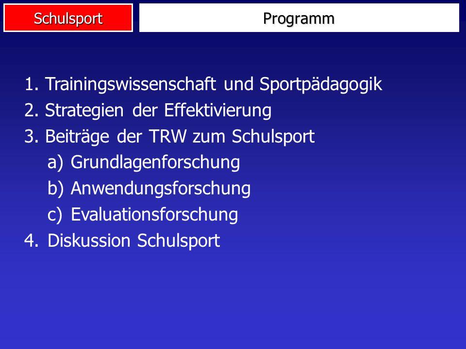 Schulsport 1. Trainingswissenschaft und Sportpädagogik 2. Strategien der Effektivierung 3. Beiträge der TRW zum Schulsport a)Grundlagenforschung b)Anw