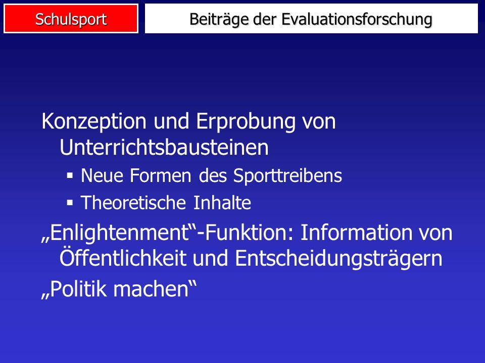 Schulsport Beiträge der Evaluationsforschung Konzeption und Erprobung von Unterrichtsbausteinen Neue Formen des Sporttreibens Theoretische Inhalte Enl