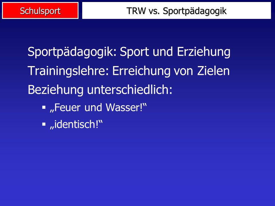 Schulsport Sportpädagogik: Sport und Erziehung Trainingslehre: Erreichung von Zielen Beziehung unterschiedlich: Feuer und Wasser! identisch! TRW vs. S