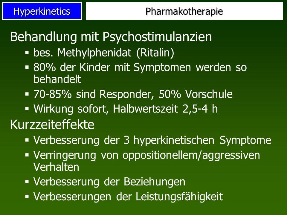 HyperkineticsPharmakotherapie Behandlung mit Psychostimulanzien bes. Methylphenidat (Ritalin) 80% der Kinder mit Symptomen werden so behandelt 70-85%