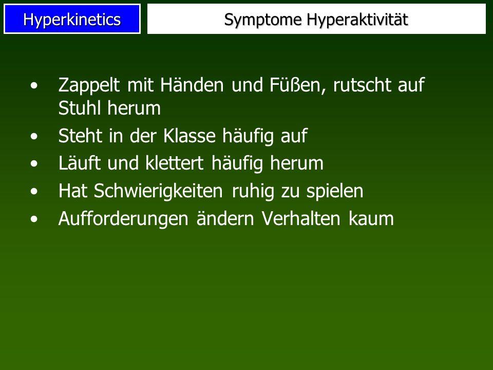 Hyperkinetics Symptome Hyperaktivität Zappelt mit Händen und Füßen, rutscht auf Stuhl herum Steht in der Klasse häufig auf Läuft und klettert häufig h