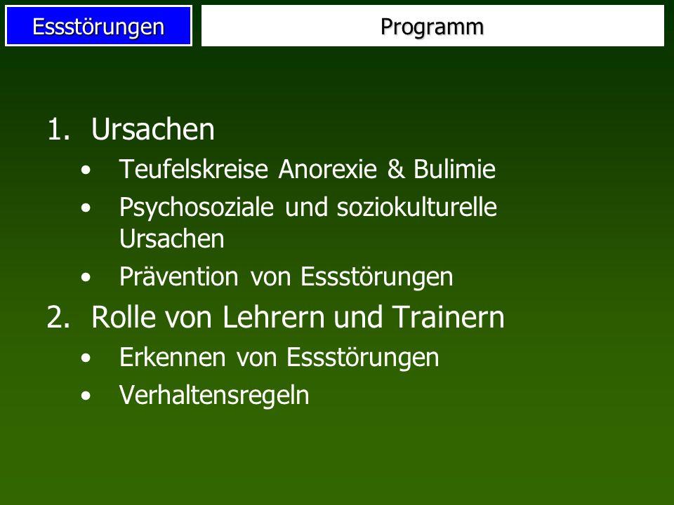 EssstörungenProgramm 1.Ursachen Teufelskreise Anorexie & Bulimie Psychosoziale und soziokulturelle Ursachen Prävention von Essstörungen 2.Rolle von Le