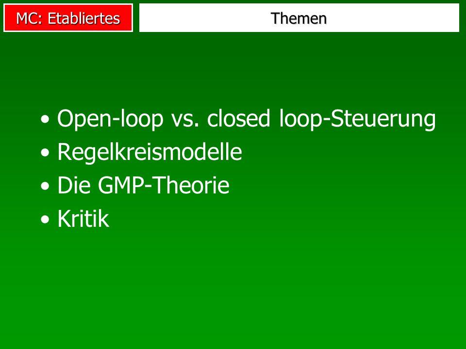 MC: Etabliertes Themen Open-loop vs. closed loop-Steuerung Regelkreismodelle Die GMP-Theorie Kritik