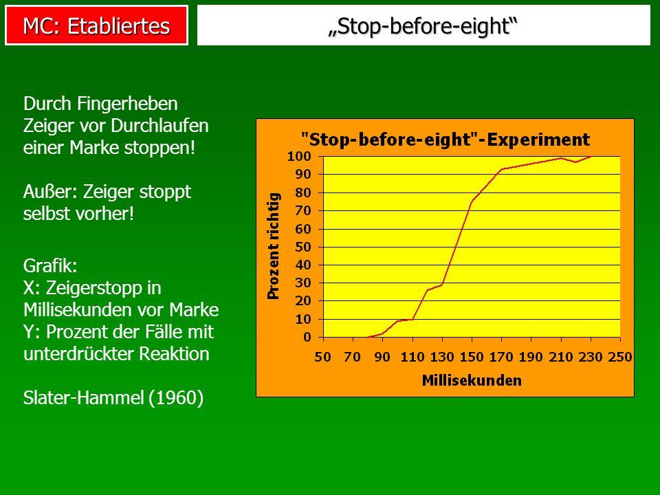 MC: Etabliertes Open-loop-Modell der Bewegung Steuerungs- zentrum Effektoren Bewegungskommandos Steuerung Efferenzen: Ausgehende Signale Bei sehr kurzen Bewegungen, t < 150-200msec z.B.