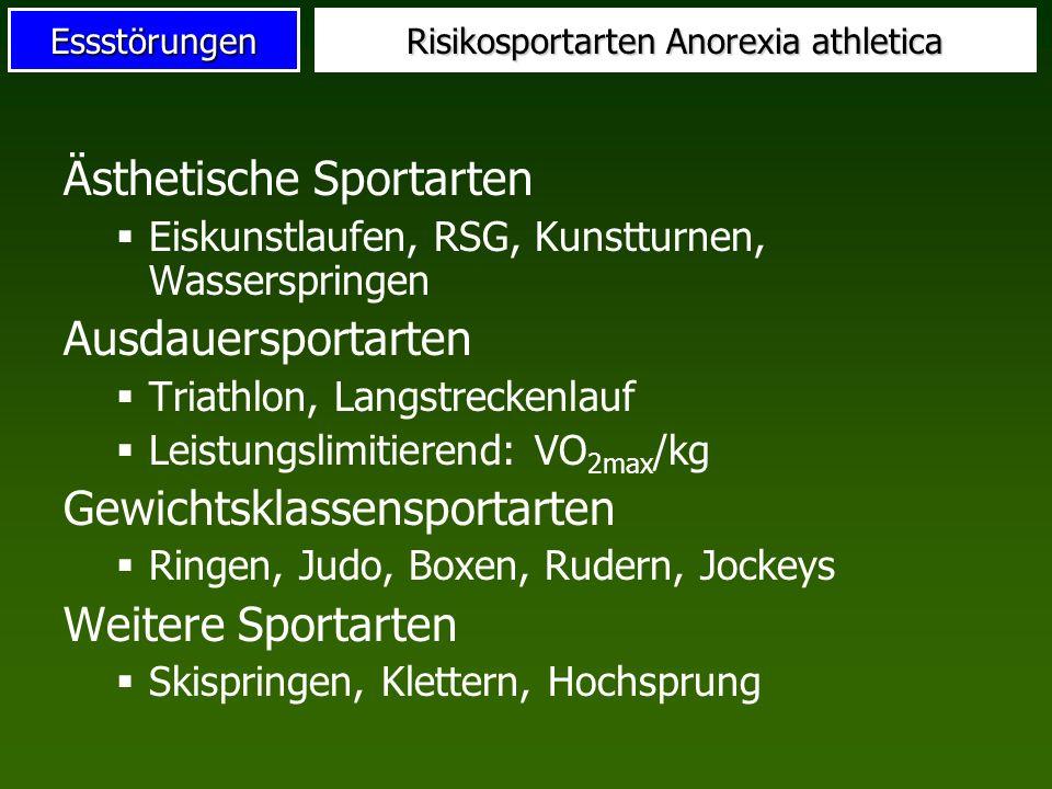 Essstörungen Risikosportarten Anorexia athletica Ästhetische Sportarten Eiskunstlaufen, RSG, Kunstturnen, Wasserspringen Ausdauersportarten Triathlon,