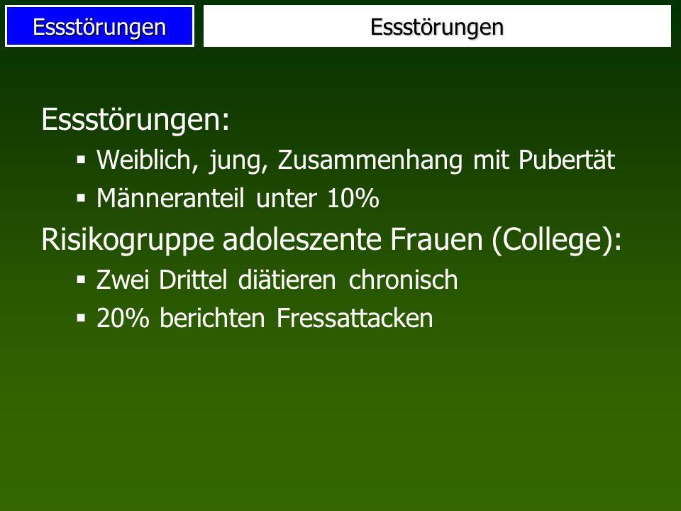 EssstörungenEssstörungen Essstörungen: Weiblich, jung, Zusammenhang mit Pubertät Männeranteil unter 10% Risikogruppe adoleszente Frauen (College): Zwe