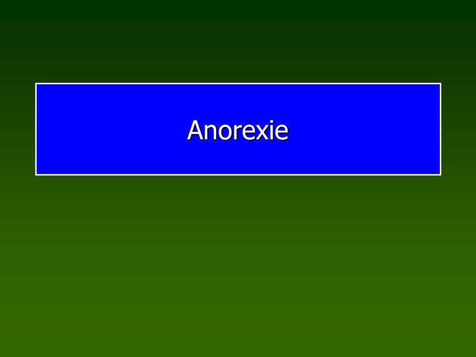 EssstörungenAnorexie Anorexie (Magersucht, orexi=Appetit, gr.): Appetitverlust, Sucht nach Hunger Übersteigerter Wunsch nach Schlankheit und Selbstbestimmtheit, psychische Störung Symptome: 1.Untergewicht < BMI 17,5 oder < 85% Normgewicht 2.Irrationale Angst vor Gewichtszunahme 3.Verzerrte Körperwahrnehmung 4.Ausbleiben der Monatsblutung (Frauen) Varianten Restriktiver Typ Binge Eating und/oder Purging-Typ