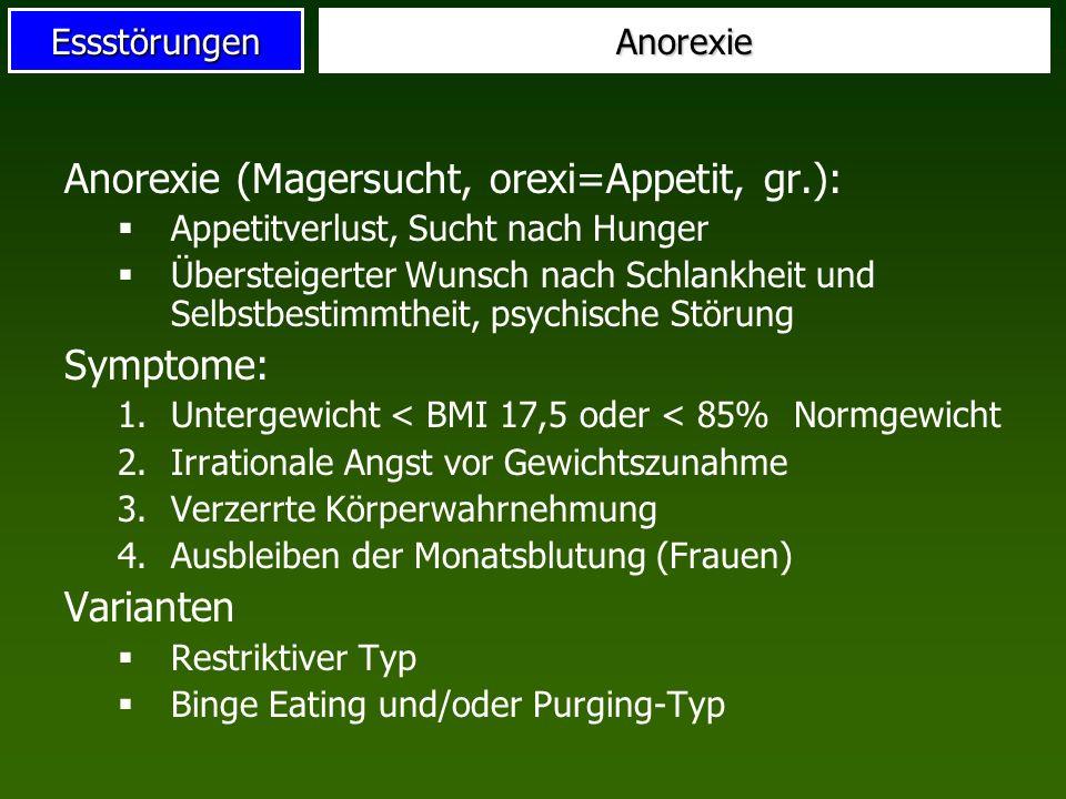 EssstörungenAnorexie Anorexie (Magersucht, orexi=Appetit, gr.): Appetitverlust, Sucht nach Hunger Übersteigerter Wunsch nach Schlankheit und Selbstbes
