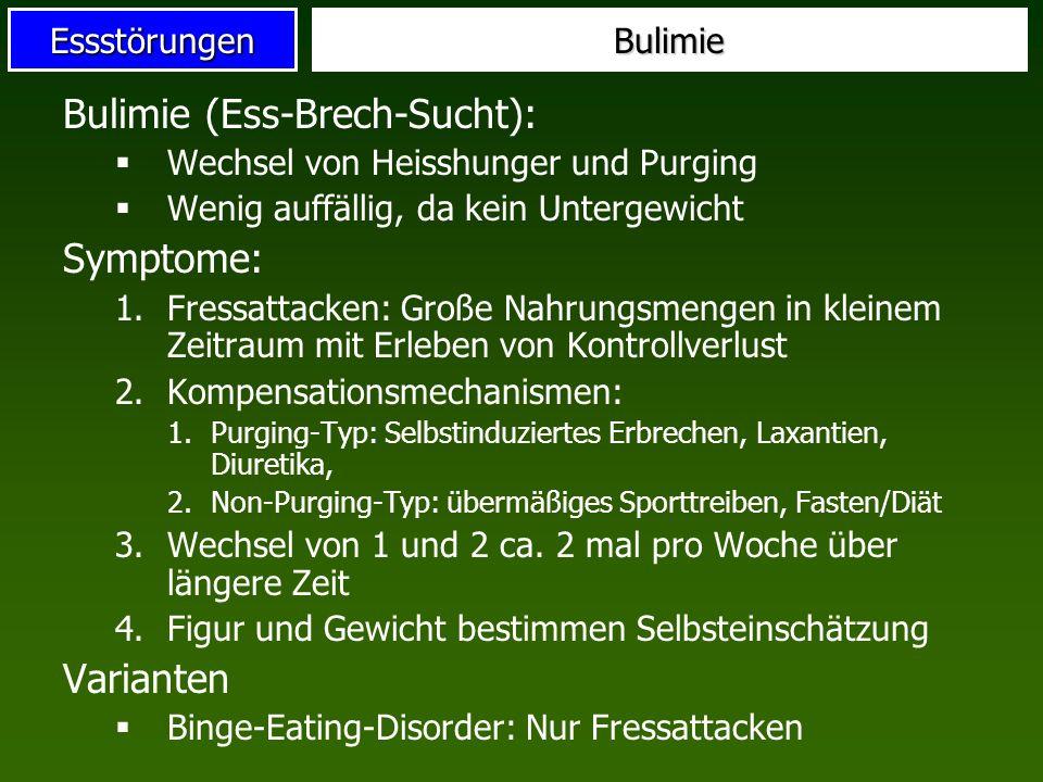 EssstörungenBulimie Bulimie (Ess-Brech-Sucht): Wechsel von Heisshunger und Purging Wenig auffällig, da kein Untergewicht Symptome: 1.Fressattacken: Gr