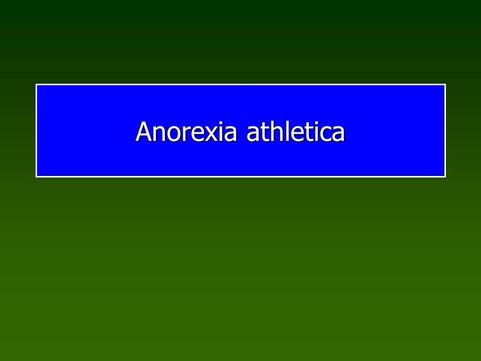 Essstörungen Sportanorexie Sportinduzierte Anorexie Symptome: Untergewicht über sportliches Optimum hinaus Kritische Körperwahrnehmung Essverhalten extrem gezügelt In der Regel kompensierbar, wenn Sport aufgegeben wird