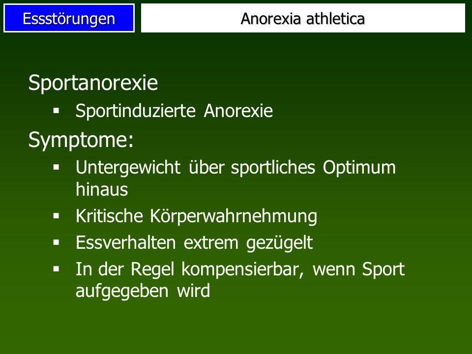 Essstörungen Sportanorexie Sportinduzierte Anorexie Symptome: Untergewicht über sportliches Optimum hinaus Kritische Körperwahrnehmung Essverhalten ex