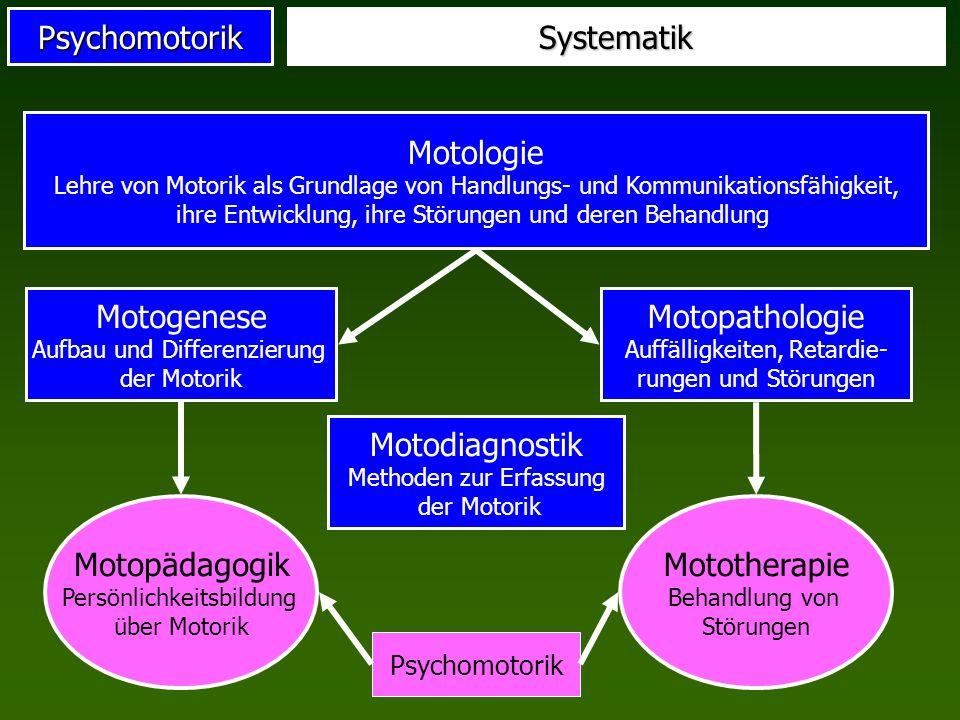 PsychomotorikSystematik Motologie Lehre von Motorik als Grundlage von Handlungs- und Kommunikationsfähigkeit, ihre Entwicklung, ihre Störungen und der