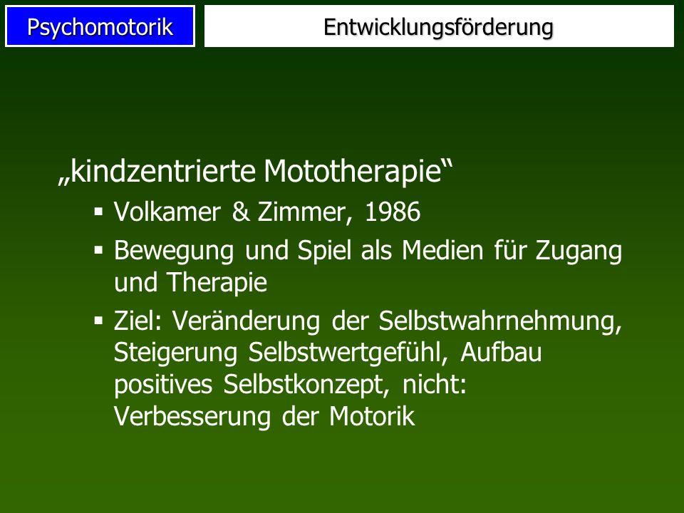 PsychomotorikEntwicklungsförderung kindzentrierte Mototherapie Volkamer & Zimmer, 1986 Bewegung und Spiel als Medien für Zugang und Therapie Ziel: Ver