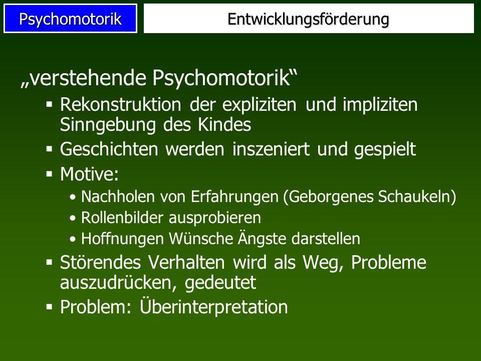 PsychomotorikEntwicklungsförderung verstehende Psychomotorik Rekonstruktion der expliziten und impliziten Sinngebung des Kindes Geschichten werden ins