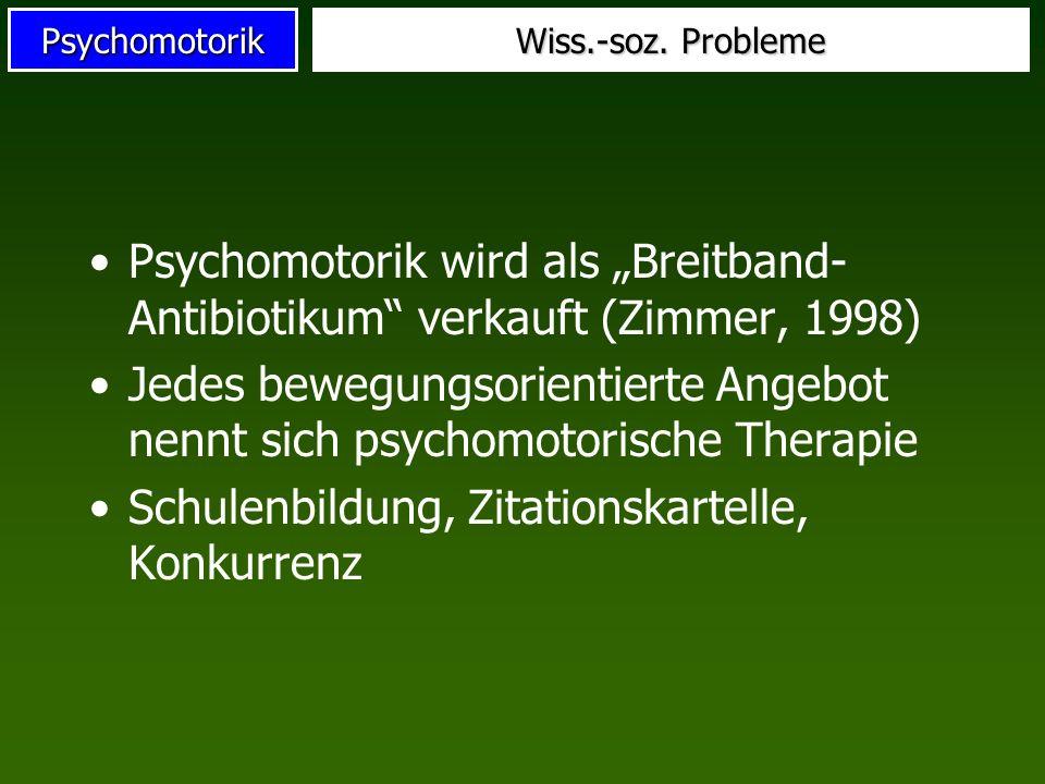 Psychomotorik Wiss.-soz. Probleme Psychomotorik wird als Breitband- Antibiotikum verkauft (Zimmer, 1998) Jedes bewegungsorientierte Angebot nennt sich