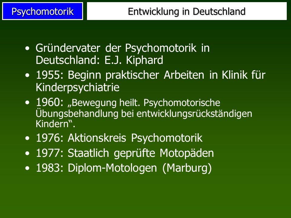 Psychomotorik Entwicklung in Deutschland Gründervater der Psychomotorik in Deutschland: E.J. Kiphard 1955: Beginn praktischer Arbeiten in Klinik für K
