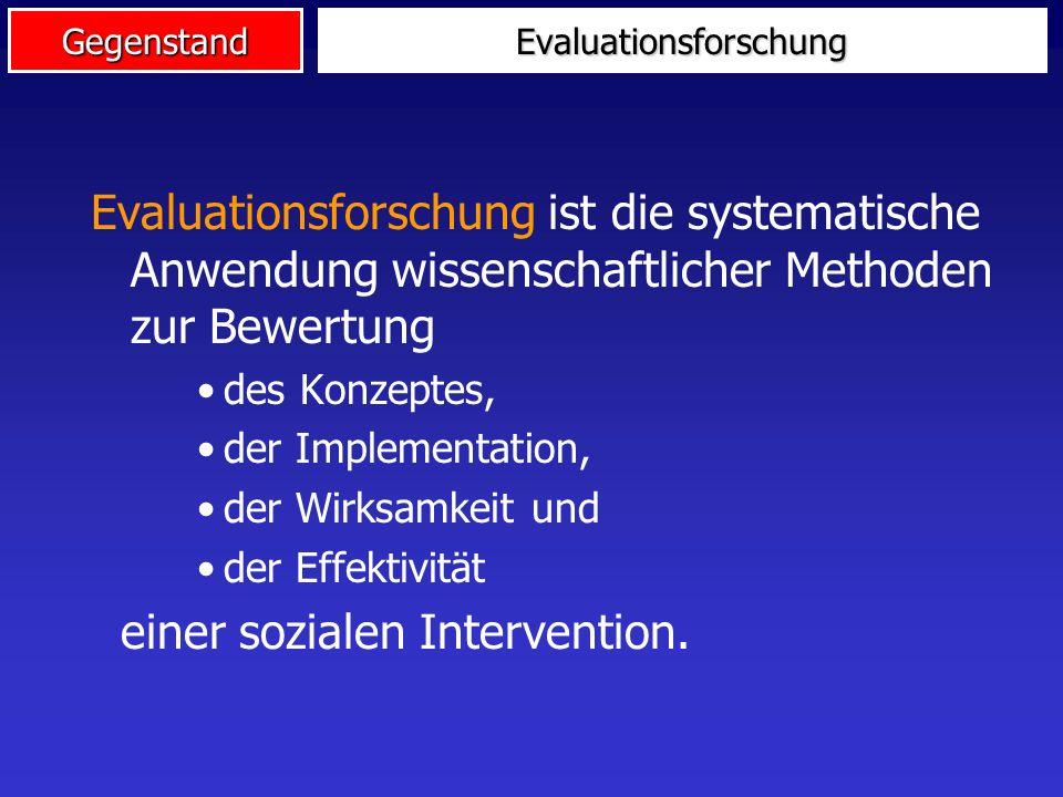 GegenstandForschungsstrategien Evaluations- forschung evaluatives Wissen