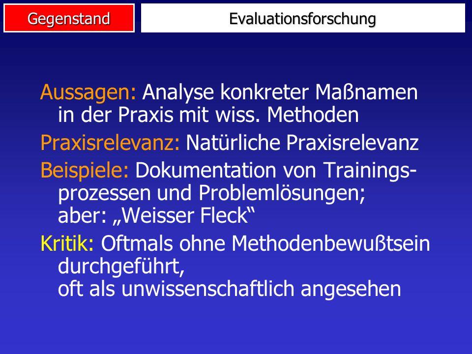 GegenstandEvaluationsforschung Evaluationsforschung ist die systematische Anwendung wissenschaftlicher Methoden zur Bewertung des Konzeptes, der Imple