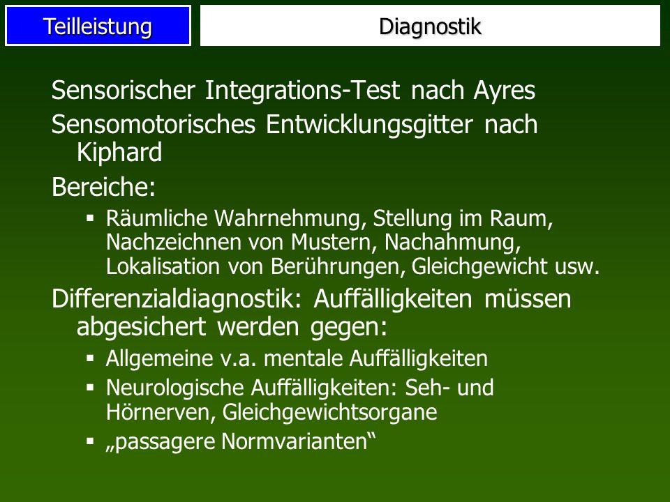 TeilleistungDiagnostik Sensorischer Integrations-Test nach Ayres Sensomotorisches Entwicklungsgitter nach Kiphard Bereiche: Räumliche Wahrnehmung, Ste
