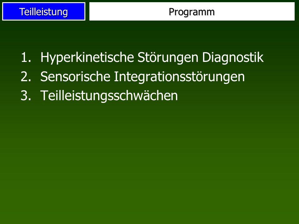 TeilleistungProgramm 1.Hyperkinetische Störungen Diagnostik 2.Sensorische Integrationsstörungen 3.Teilleistungsschwächen