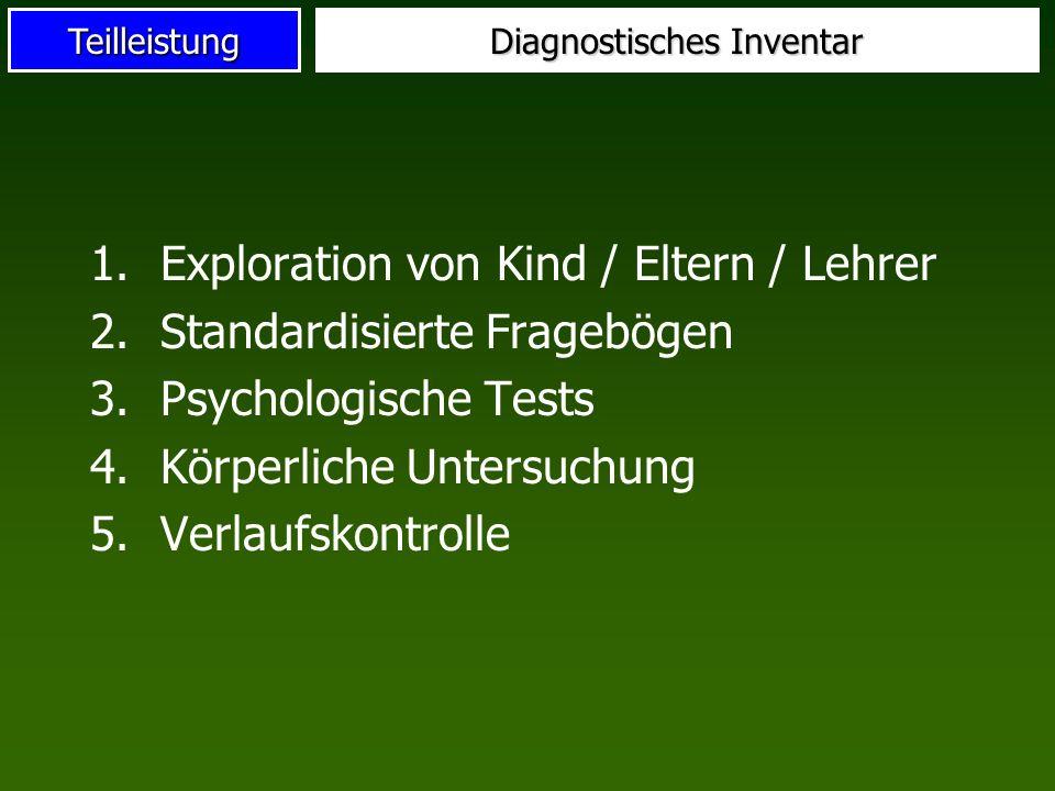 Teilleistung Diagnostisches Inventar 1.Exploration von Kind / Eltern / Lehrer 2.Standardisierte Fragebögen 3.Psychologische Tests 4.Körperliche Unters