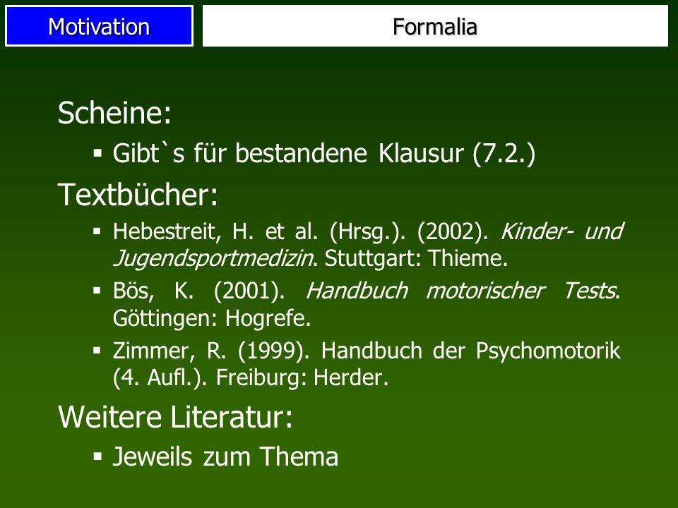 Motivation Scheine: Gibt`s für bestandene Klausur (7.2.) Textbücher: Hebestreit, H. et al. (Hrsg.). (2002). Kinder- und Jugendsportmedizin. Stuttgart: