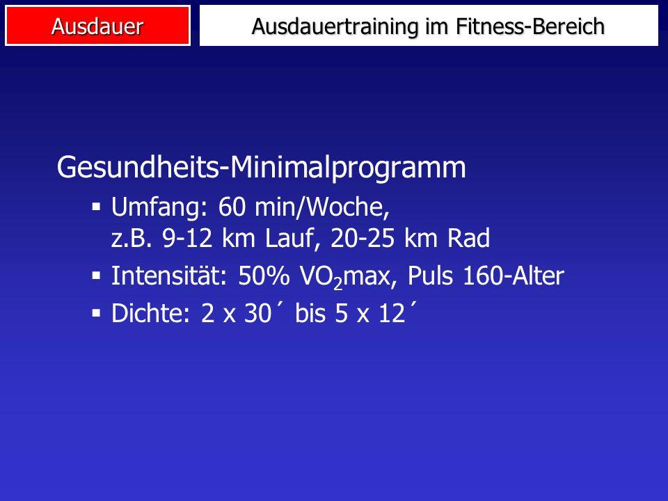Ausdauer Ausdauertraining im Fitness-Bereich Gesundheits-Minimalprogramm Umfang: 60 min/Woche, z.B.